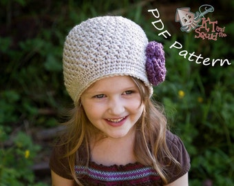 crochet baby hat pattern, easy hat pattern, newborn hat pattern,  hat with flower pattern, Womens crochet hat pattern,girls hat patter