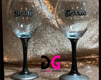 Bride and Groom Glitter Wine Glasses