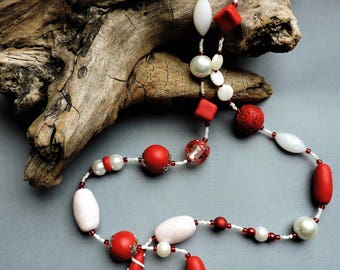 Valentine, Extra long necklace, long necklace, red and white necklace, Red, White, flapper, summer, 1920's, 1950's, Vintage inspired