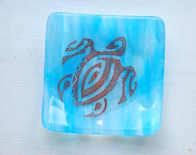 Blue Turtle/Honu Fused Glass Dish/Plate
