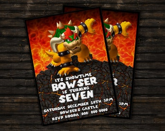 Custom Bowser Super Mario Bros Birthday Invitation Card - 5x7 or 4x6