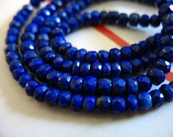 Shop Sale.. LAPIS LAZULI Rondelles Beads, 3.5-4 mm, Full Strand, September birthstone, pyrite inclusions, dark blue brides bridal