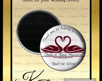 "Wedding Favors, 2.25"" Custom Wedding Magnet, Swan Wedding Favors, Custom Wedding Favors, Wedding Keepsake, Refrigerator Magnet,"
