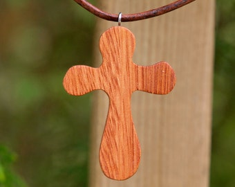 wooden cross necklace - scroll saw solid reclaimed Lyptus wood, baptism gift, confirmation gift, Christian necklace