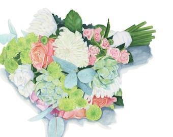Custom Bridal Bouquet - Original Watercolour Painting