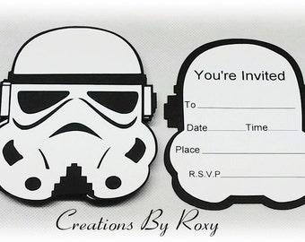 Star wars, Storm Trooper, Inspired Invitations Set of 12