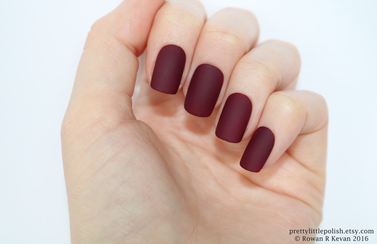 Matte burgundy short square nails, Nail designs, Nail art, Nails ...