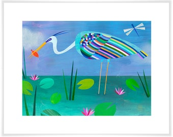 Blue Heron, Florida Everglades, Giclee Paper Art Print, Bird Illustration