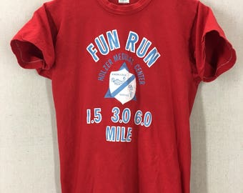 Vintage 80's Holzer Medical Running Fun Run T-Shirt Fits like a Small