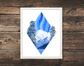 Mountain Print, Mountain Art, Mountain Painting, Nature Art, Nature Painting, Acrylic Painting,  Canadian Art, Acrylic Nature