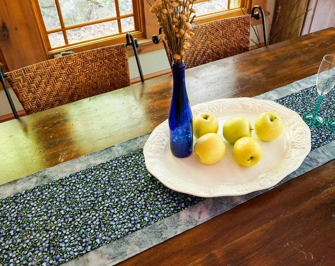 Blueberry Kitchen Decor-Blue Table Runner-Fruit Kitchen  Decor-Fruit Party Supplies-Table Centerpiece-Boho Cottage Decor-Mother's Day Gift-