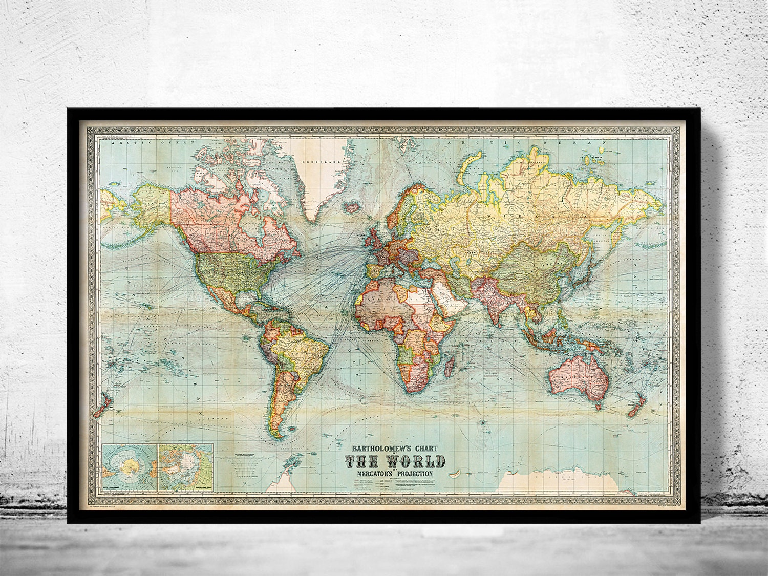 Beautiful world map vintage atlas 1914 mercator projection zoom gumiabroncs Choice Image
