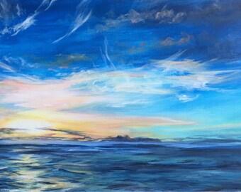 Hawaiian Sunset Acrylic Painting