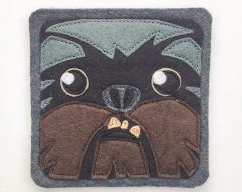 Pet dog Brussels Griffon. Brown,light gray, dark gray, and black blended felt fabric (1)