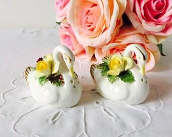Royal Adderley Floral Salt & Pepper Pots, Swans, Staffordshire, c1945.