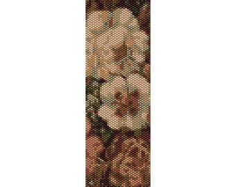 Vintage Flowers 5 Peyote Bead Pattern, Bracelet Cuff, Bookmark, Seed Beading Pattern Miyuki Delica Size 11 Beads - PDF Instant Download