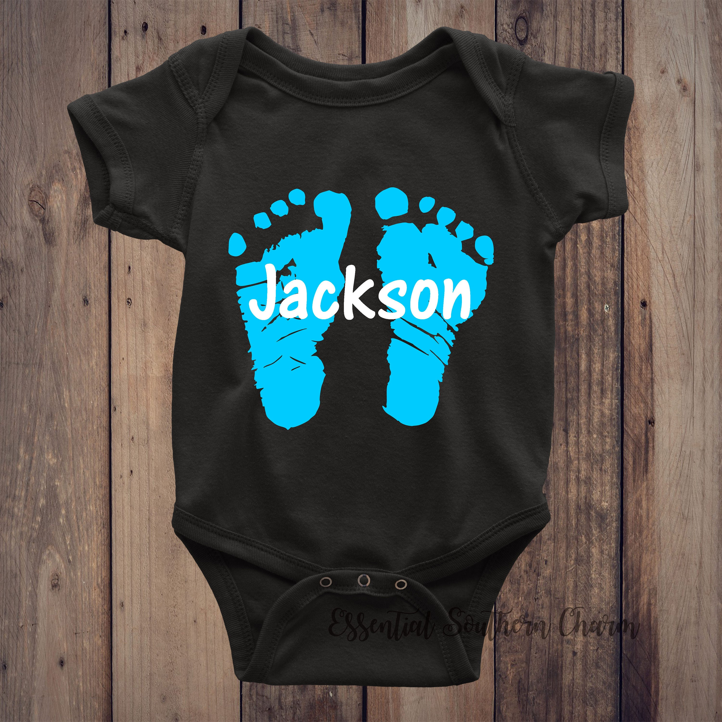 Personalized baby feet body suit baby shower gift vinyl negle Images