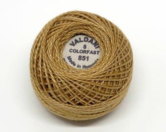 Valdani Pearl Cotton Thread Size 8 Solid: #851 Antique Gold Light