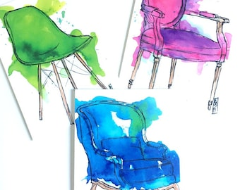 Drippy Chairs Postcard Set