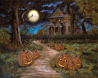 Halloween - haunted house - jack o lantern - full moon - PRINT - 11 x14