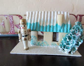 vintage 50s 60s Christmas Putz House with toy soldier - aqua, cardboard, decoration,  made in Japan