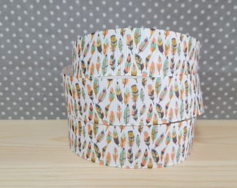 1 meter of Ribbon grosgrain colorful feathers