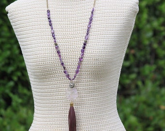Amethyst Nugget + Leather + Pyrite Nugget Long Tassel Necklace - brass chain - gemstone beaded boho leather necklace - February Birthstone