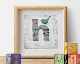 Kid's Room Art, Nursery Prints, Baby Boy's Room, Baby Girl's Room, Cute Bird Prints, Letter H, ABC Letters, Wall Initials, Monogram Letters