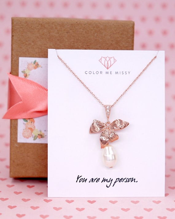Rose Gold Orchid Rose Gold FILLED Necklace, Flower Wedding Bridal Bridesmaid brides Boho Garden weddings Crystal jewelry, Rosamunde N237