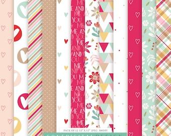 Me & You Love Digital Paper Valentine Pattern Paper Love Paper Love Printable Valentine Printable Love Scrapbook Valentine Planner Stickers