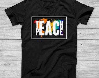 Globe shirt etsy more colors teach peace teachers t shirt world globe map gumiabroncs Images