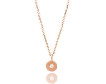 Floating White Topaz  Necklace - Delicate 18k Rose Gold Vermeil Chain - Small Rose Gold Vermeil Disc and Gemstone Charm - 16in. Necklace