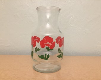 50% SALE *** Red Foxy Flowers Large 1.5 Qt Juice Carafe by Anchor Hocking