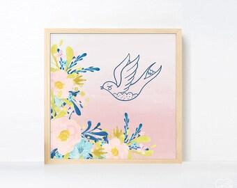 Watercolor Bird Nursery Art, Girl Room Bird Artwork , Pink Navy Nursery Printable, Flower Baby Girl Instant Download Boho Nursery Art Pink
