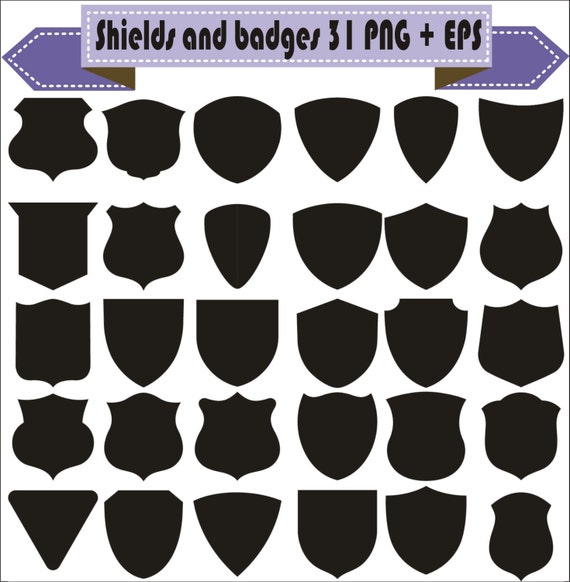 Shields And Badges Vintage Motif Shapes Pack Silhouette Vector Clipart PNG EPS Digital Files Scrapbook Supplies Instant Download From VectorArtShop On Etsy