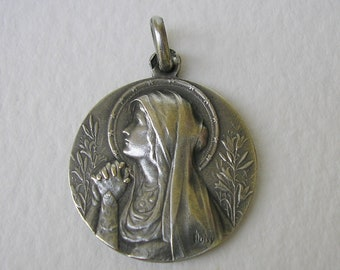 Beautiful Virgin Mary Sterling Silver Medal signed J Doisy/ Antique French Religious Pendant