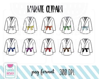 10 Doodle Karate Clipart. Martial Arts Clothing. Personal and comercial use.