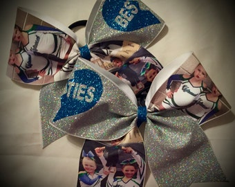 Best Friends Bows~Personalized PHOTO Bow Cheer Bow CHOOSE Glitter Colors Any Color Available