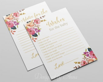 Floral wishes for the baby botanical baby shower printable game instant download gold advice for mommy shower party printable flowers spring