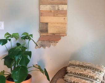Indiana State Sign | Reclaimed Wood | Pallet Sign | Home Decor | Wall Art | Rustic Decor | Barn wood |