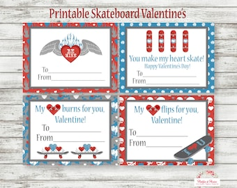 Skateboard Valentines Day Cards - Skateboard Valentines Cards - PRINTABLE! - SK8 Cards - Valentine Day Cards - INSTANT DOWNLOAD