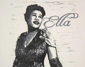 Ella Fitzgerald reduction linocut print