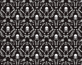 PUNK ROCK DAMASK Black and White Skull Fabric - Cotton - cut from bolt - by the yard