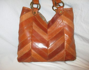 Lucky Brand chevron patchwork leather bag