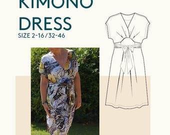 Wrap dress pattern,Kimono wrap dress PDF pattern for sewing/ Women's tunic dress PDF sewing pattern, Ladies wrap dress tunic sewing pattern/