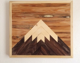 Mountain 001 | Reclaimed Wood Wall Art | Home Decor | Woodworking | Rustic Wall Art | Lath Art | Lath Woodworking