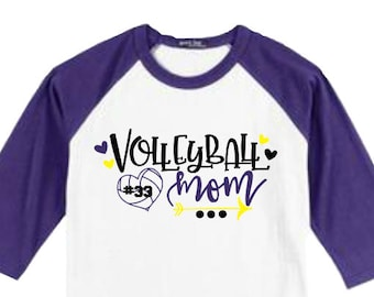 Volleyball Mom Shirt, Custom Volleyball Mom Shirt, Personalized Volleyball Mom Shirt, Volleyball Raglan, Mom Sports Shirt, Sizes Small to 3X