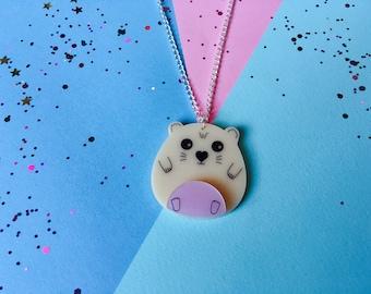 Hamster Necklace, Hamster Jewellery, Animal Necklace, Hamster Gift, Animal Jewellery, Cute Gifts, Cute Animals, Acrylic Necklace, Hamster