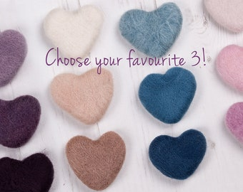 3 Felt Hearts, choose any colour, newborn photo prop, needle felted heart, wool felt, needle felt, handmade, photography props, wool felt