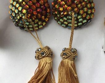 Magma -  Handmade teardrop burlesque pasties, rhinestone with tassels, volcano/gold